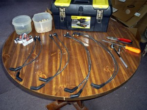 New Ignition Wires, Sorted by Length (the peanuts were for my squirrel buddies)